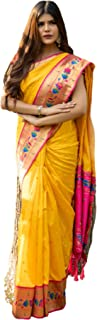 Indian traditional Maharashtran Woman Saree Paithani Patch Weaving Border with Soft Silk sari Blouse 6073