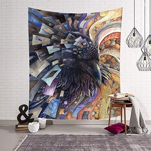 KHKJ Animal Lobo búho Tapiz decoración para Colgar en la Pared Varios Estilos tapices de Tela de Alfombra Abstracta psicodélica A4 150x130cm