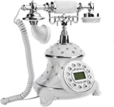 $91 » European Style Retro Telephone - Vintage Antique Telephone - White Embed Rhinestones - Home Desktop Landline - Classic Dec...