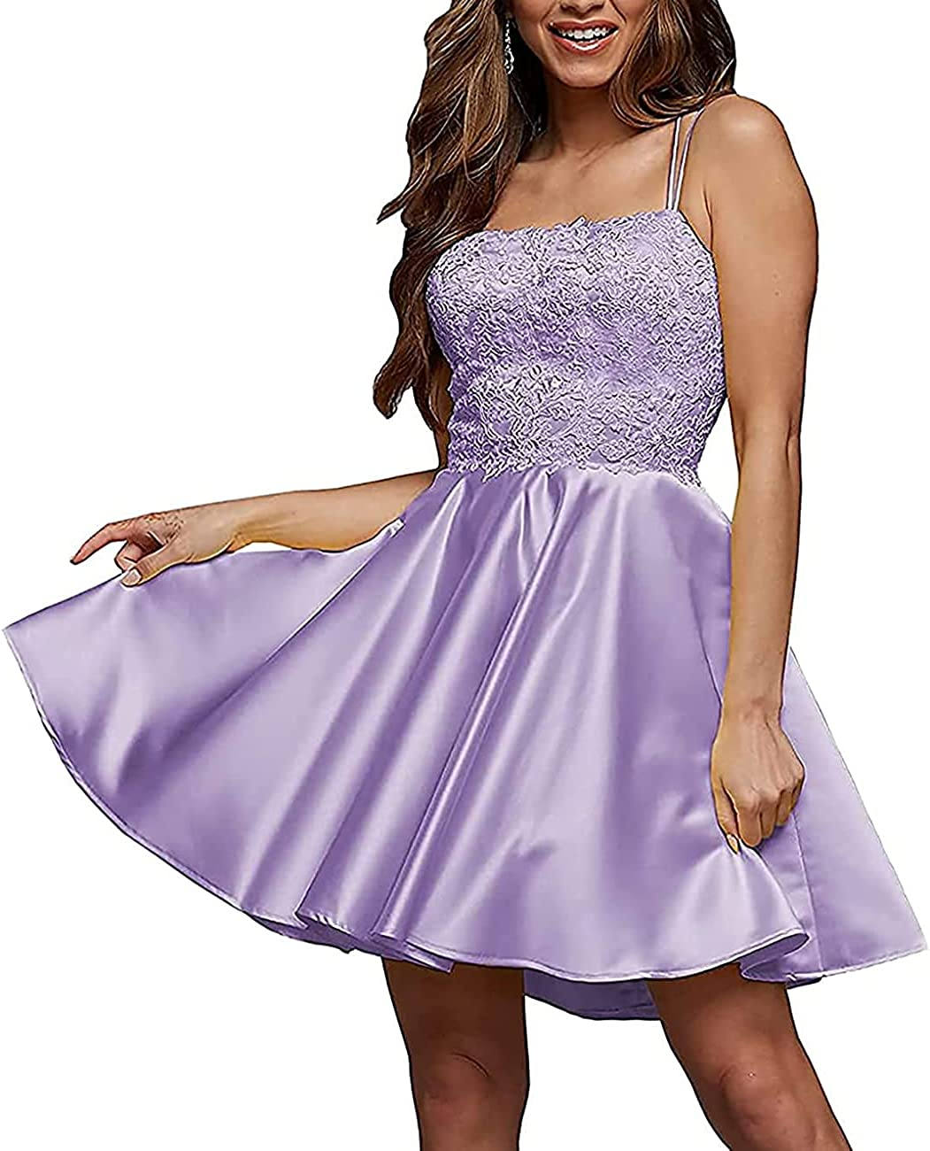 Acenia Women's Satin Homecoming Dresses Short Prom Gown Cocktail Dresse with Pockets A118