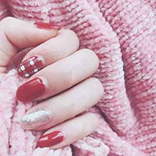 Edary 24 pcs False Nails Red Plaid Short Oval Fake Nails Full Cover Press on Nails Art Tips for Women