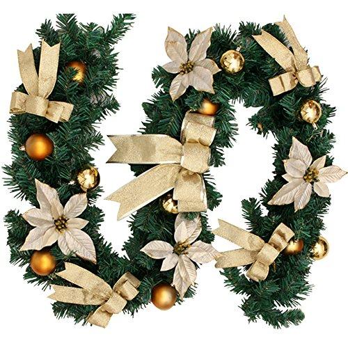 You's Auto 1.8M Guirnalda Navideña Artificiales Decoraciones Navideñas Escaleras de 6 Pies Chimeneas Guirnalda Festiva Escalera Flores de Navidad Árbol Jardín (Dorado)