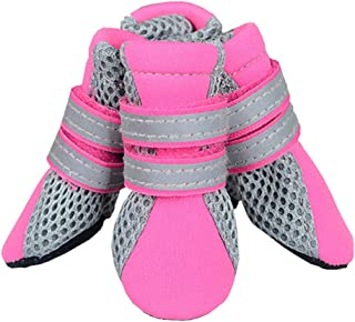 Breathable Mesh Dog Shoes/Paw Protectors with Reflective And Adjustable Straps And Wear-Resisting Soles,Puppy Daily Soft S...