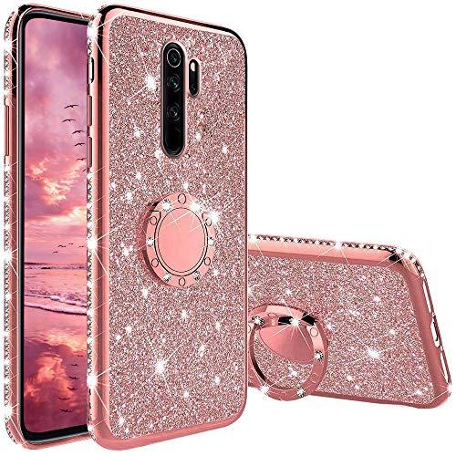 TVVT Glitter Crystal Funda para Xiaomi Redmi Note 8 Pro, Glitter Rhinestone Bling Carcasa Soporte Magnético de 360 Grados Ultrafino Suave Silicona Lujo Brillante Rhinestone - Rosa