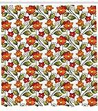 Dor675ser Duschvorhang, 183 x 200 cm, Blumen-Duschvorhang, Boho-Kräuterlie, naturfarben