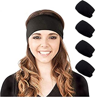 4 Pack Headbands for Women - Fashion Stretchy Wide Black Headbands for Running, Yoga, Travel,Workout
