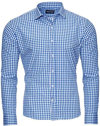 Reslad Herren Hemd Slim Fit Freizeithemd Tracht Oktoberfest Herren Blaues Oberhemd Kariertes Trachtenhemd Jungs RS-7007 Blau XXL
