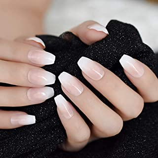 Ombre French Ballerina Fake Nail Gradeint Natural Coffin False Nails Wholesale Nails Supplier 24