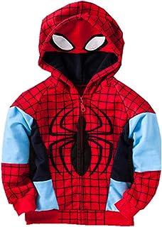 7d2361837 Little Boy Outerwear Coats Super Hero Avengers Iron Man Hooded Jacket ( Spiderman Red, 90CM