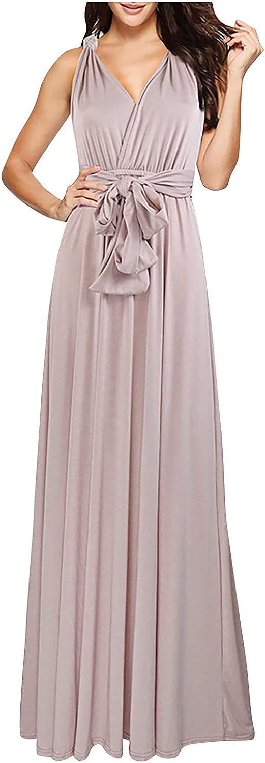 UOFOCO Maxi Dresses for Women Summer Multi-wear Dresses Sleeveless Solid Color Lace-up Wedding Guest Dresses for Women Formal