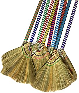choi bong co Vietnam Hand made straw soft Broom with colored handle 12