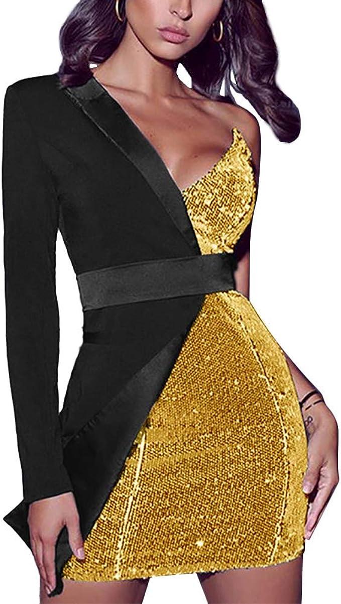 Minetom Kleider Damen Spleissen Glitzer Minikleider Elegant Ruckenfreies Bodycon Kleid Schulterfrei Partykleider Blazer Kleid Amazon De Bekleidung