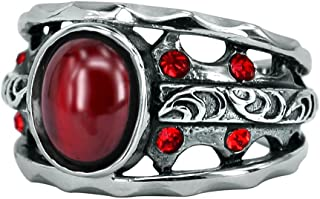 Vintage Surgical Steel Hollow Out Wide Band Rings for Men Women with Black/Red Onyx Punk Gothic Rings