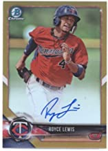 2017 Bowman Draft Chrome Autographs Refractors Gold #CDA-RL Royce Lewis Minnesota Twins MLB Baseball Card (Autographed) /50 NM-MT