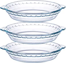 Kingrol 3 Pack Glass Pie Plates, 9 Inch Pie Baking Dishes with Handles