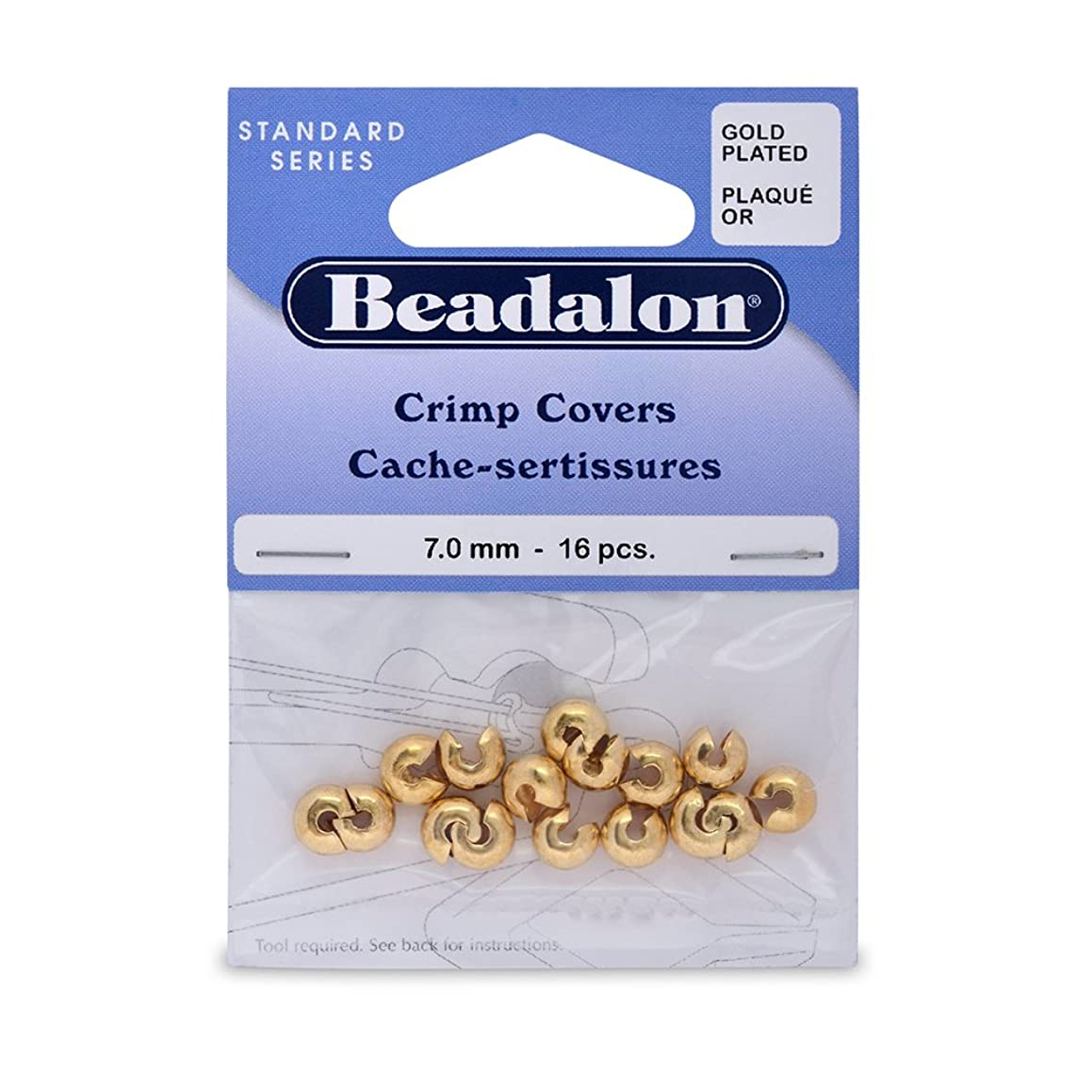 Artistic Wire Beadalon Crimp Cover 7mm Nickel Free Gold Plated, 16-Piece