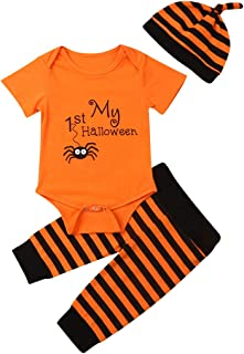 KMBANGI Toddler Baby Boy Girl Outfit Costumes My 1st Halloween Romper Bodysuit Long Striped Pants Set with Hat