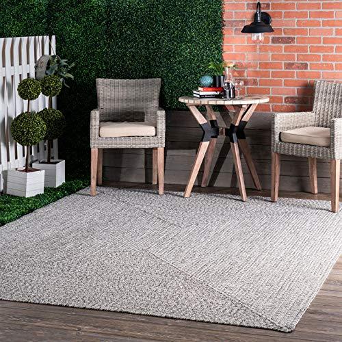 nuLOOM Wynn Braided Indoor/Outdoor Area Rug, 5' x 8', Light Grey/Salt and Pepper