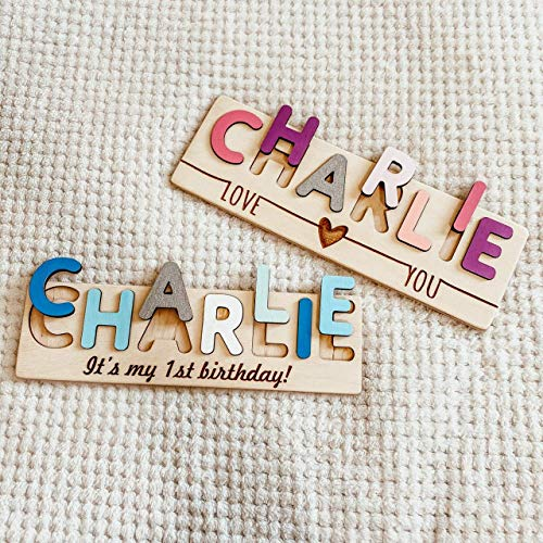 Custom Name Puzzle With inscription - Montessori Toys for Child - also Baby Gift and Nursery Decor. Best Christmas Present for Baby