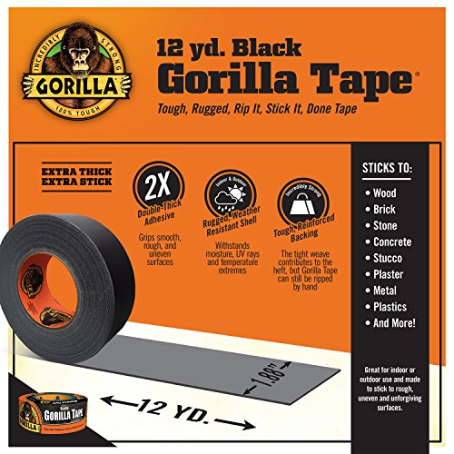 Product Image 1: Gorilla 6001203 6001203-10 Duct Tape, 1.88″ x 12 yd, Black, (Pack of 1), 1-Pack