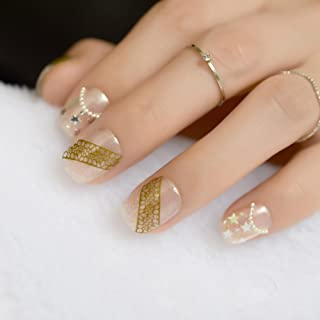Classic Black Short Nails Silver Stripe DIY Round Full Cover Fake Press On Nails Women Daily Wear Tips With Glue Sticker Z854 glitter