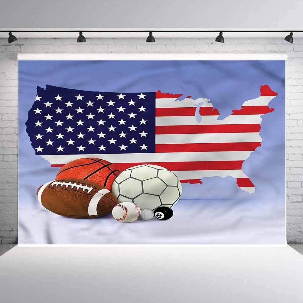8x8FT Vinyl Photo Backdrops,Americana,Map Sports Theme Balls Photoshoot Props Photo Background Studio Prop