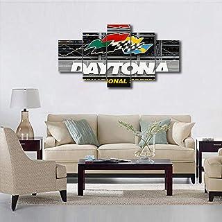 TUMOVO 5 Panels Wall Art Daytona 500 Home Decor Yankee NASCAR Race F1 Speedway Pictures for Dinning Room Living Room Bedro...