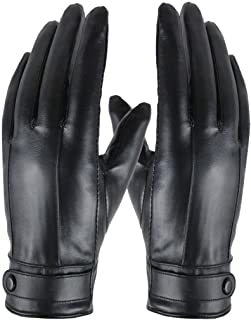 Muranba Men Thermal Winter Sports Leather Gloves Touchscreen for Cycling Black