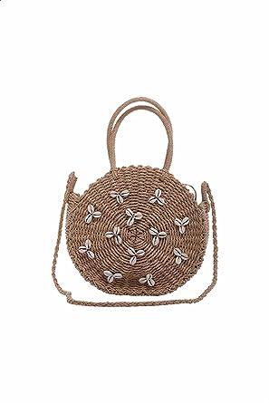 Dalydress Dare Top-Handle Seashells Embellished Shoulder Bag for Women - Camel