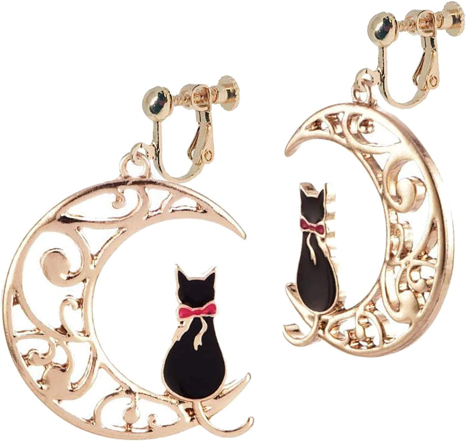 Women's Retro Clip on Non Pierced Earrings Sweet Moon and Cat Pendant Crescent Carved Flower Dangle Drop for Women Girls Birthday Party Prom Gifts Bohemian Jewelry