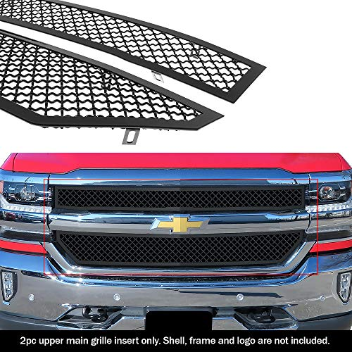 APS Compatible with 2016-2018 Chevy Silverado 1500 & 19 Silverado 1500 LD Main Upper Stainless Black Mesh Grille Insert N19-K06367C