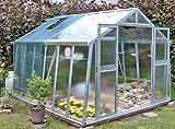 Gewächshaus mit Glas unschlagbar stabil 2,76 x 3,06 m, Konstruktion Metall verzinkt