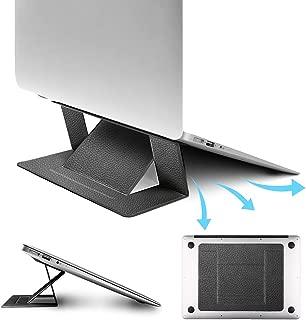 【2019本革】ノートパソコン スタンド 折りたたみ 軽量 pcスタンド 冷却 携帯便利 laptop stand タブレット縦置き パソコン台 角度高さ調整可能 超薄い8kg-10kg荷重 耐久性 15.6インチまで対応 Macbook Air/Mackbook Pro/Macbook/ASUS/Acer/Brother/DELL/東芝(TOSHIBA)/Lenovo/富士通/ソニー/iPad/タブレット スタンド 出張 旅行 オフィスに最適 パソコンホルダー 本革 黒