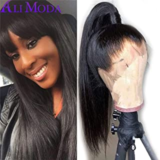 Ali Moda Pre Plucked Silky Straight 360 Lace Front Wig Malaysian 130% Density With Baby Hair Bleached Knots Cap Wig Human Virgin Hair Nature Hairline 20 inch