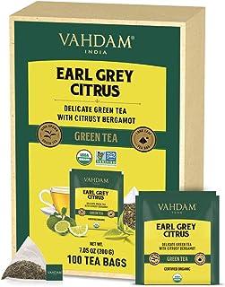 VAHDAM, Bio-Earl Grey Zitrus Grüne 100 Teebeutel | Himalayan Grünteeblätter gemischt mit natürlichem Bergamotteöl | Feinste Earl Grey Teebeutel, Langblatt Bergamotte Teebeutel | Detox Tee