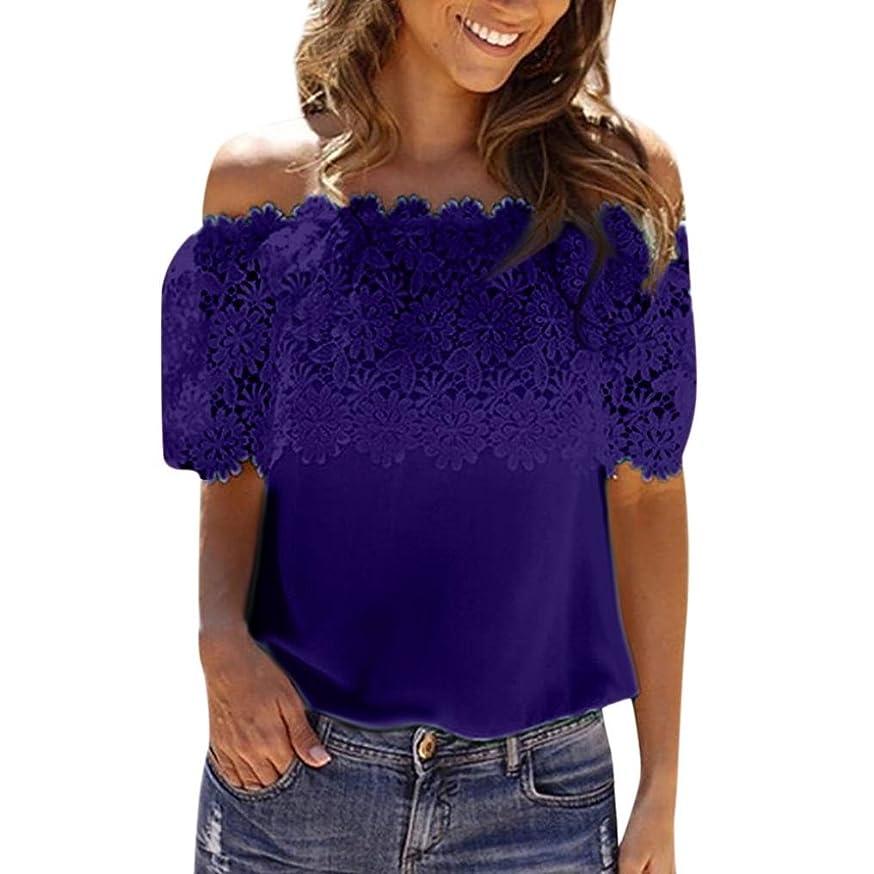 Auwer Women's Chiffon Off Shoulder Slash Neck T Shirt Casual Floral Blouse Tops See Through Lace Mesh Sheer Tee (XL, Dark Blue)