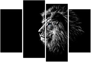 iKNOW FOTO 4 Piece Black and White Lion Giclee Canvas Prints Wall Art Modern Stretched and Framed Grace Animals Pictures Photo Paintings Artwork for Living Room Bedroom Home Decorations