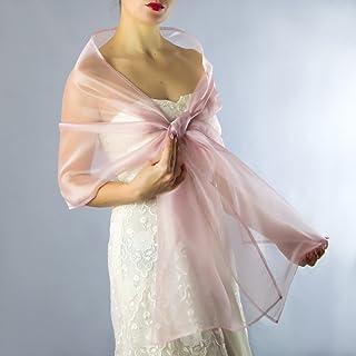 Stole donna organza scialli vestito da sposa nuziale poncho rosa mauve