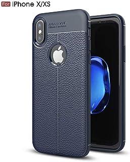 NiaCoCo Compatible con iPhone x/XS Funda Textura de La Piel TPU Suave Fino Anti Huella Digital Resistencia Al Terremoto Anti-Caída Caso+1*(Gratis Soporte para Teléfono)-Azul