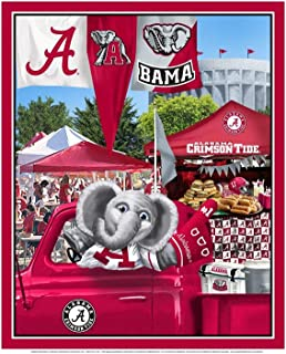 University of Alabama Cotton Fabric Panel with Tailgate Design-Sold by The Panel