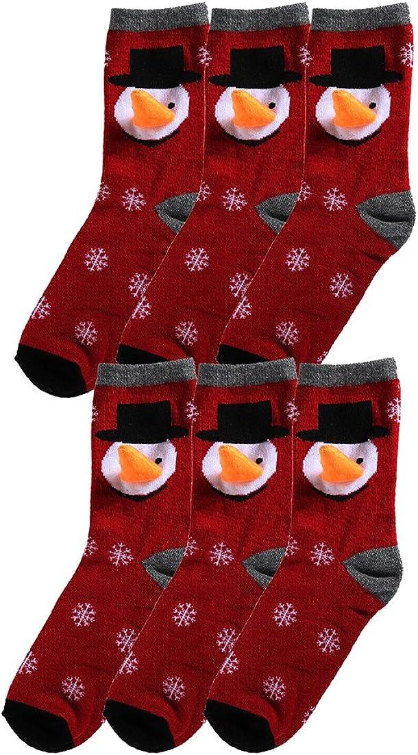 sourcingmap Women 6 Pack 3D Pattern Cute Santa Christmas Socks Set
