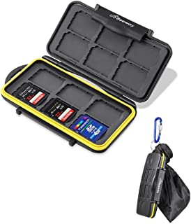 Beeway® Memory Card Carrying Case Holder for SD SDHC SDXC - 12 Slots Sealed Waterproof with Storage Bag & Carabiner