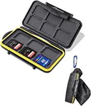 Beeway Memory Card Carrying Case Holder for SD SDHC SDXC - 12 Slots Sealed Waterproof with Storage Bag & Carabiner
