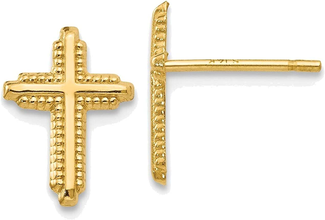 14K Yellow Gold Polished Cross Post Earrings