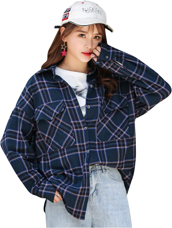 ASHER FASHION Womens Loose Styish Plaid Shirt Long Sleeved V-Neck Jacket Cotton Lapel Button Up Notch Collar Blouse