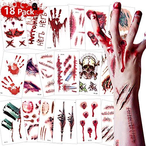 Eyscoco Halloween Tattoos, Temporäre Tattoos Narben Kratzer Wunde Spinne Skorpion für Halloween Zombies Vampir Cosplay Carnival Party Accessoires Prop Dekorationen Aufkleber
