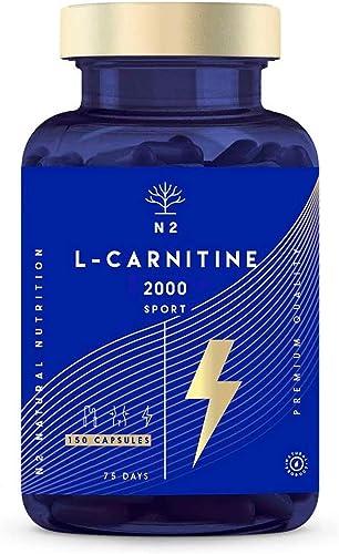 L-CARNITINE Naturelle 2000. Haute Dose Extra Fort. Pre-Workout Sportives Energie Résistance. 150 Capsules Haute Quali...