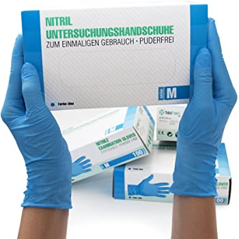 Nitrilhandschuhe 100 Stück Box (M, Blau) Einweghandschuhe,  Einmalhandschuhe, Untersuchungshandschuhe, Nitril Handschuhe, puderfrei,  ohne Latex, unsteril, latexfrei, disposible gloves, blue, Medium: SF  Medical Products GmbH: Amazon.de: Beauty