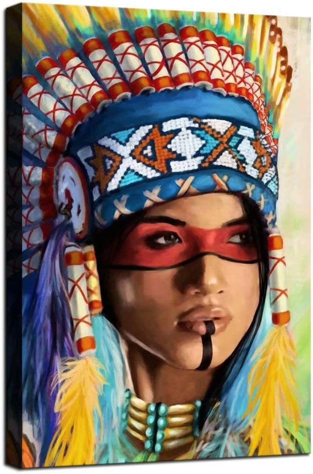 Indian Girl Wall Decor Native American Genuine Free Shipping Feathered Canvas online shopping Art