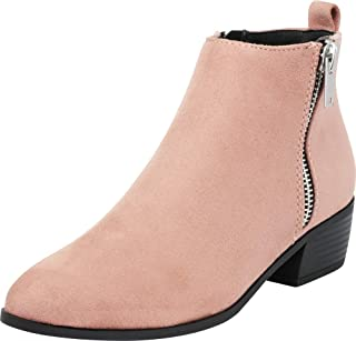 Cambridge Select Women's Pointed Toe Side Zip Block Heel Ankle Bootie